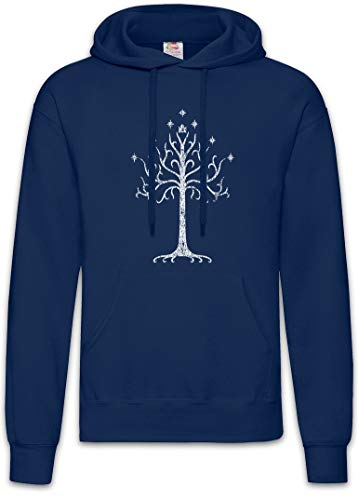 Urban Backwoods White Tree Hoodie Sudadera con Capucha Sweatshirt Azul Talla M