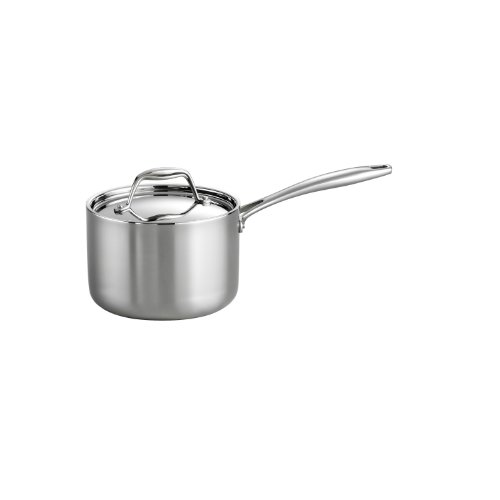 Tramontina 80116/022DS Gourmet Stainless Steel Induction-Ready Tri-Ply Clad Covered Sauce Pan, 2-Quart, NSF-Certified, Made in Brazil