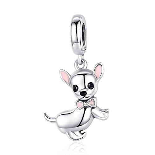 Colgante de perro de plata linda mascota chihuahua esmalte rosa para pulsera y collar regalo