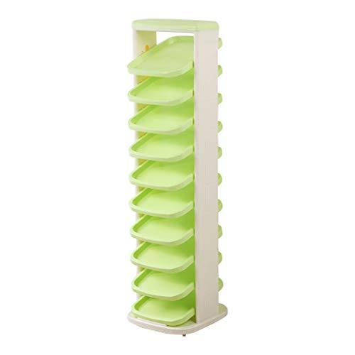 Schuhregal drehender Eckrahmen-Plastikgrün-Netter Junge Mädchen-Schuhschrank-Balkon-Villa-Regal...