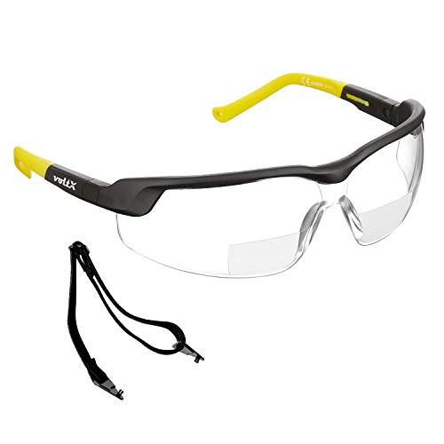 voltX GT Adjustable (2020 Model) Bifokale Lesen Schutzbrille (KLAR +2.0 Dioptrie), CE EN166FT Zertifiziert, Anti-Beschlag Beschichtung, anpassbarer Bügel, Kratzfest, UV400 Schutz.
