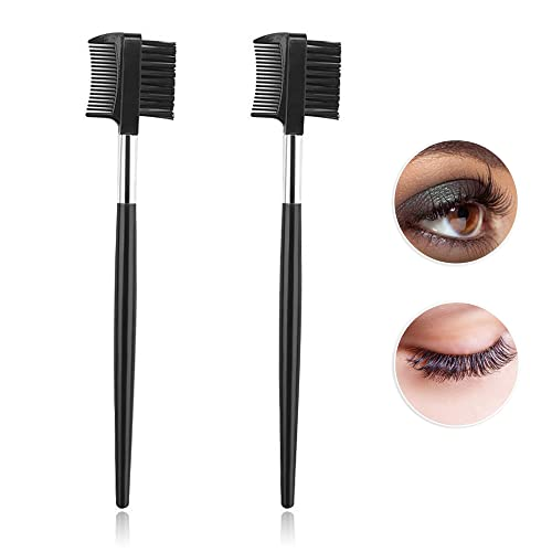 Mitening Wimpernkamm, 2stk Wimpernbürste Brauenbürste mit Kamm Doppelseiten, 2-in-1-Augenbrauenbürste für Frauen Make-up Kosmetik, Schwar
