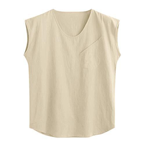 DOFENG Herren T Shirt, Herren Sommer T Shirt Ärmellos Shirts Casual Volltonfarbe Lose Tops Männer Tanks Weste Hemden Basic U-Ausschnitt