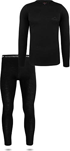 normani Herren Merino Unterwäsche-Set Garnitur (Unterhemd und Unterhose) 100% Merinowolle Thermounterwäsche Ski-Funktionsunterwäsche Farbe Black Größe M/50