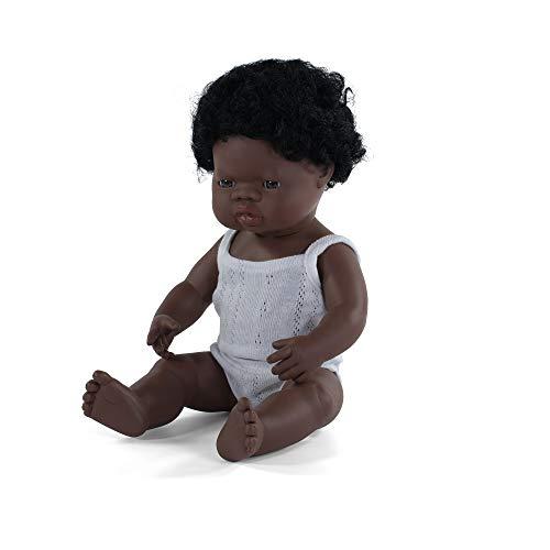 Miniland – Muñeco bebé Africano Niño de vinilo suave de 38cm con rasgos étnicos y sexuado para el aprendizaje de la diversidad con suave y agradable perfume. Presentado en caja de regalo. ⭐