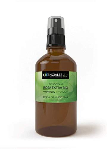 Essenciales - Hidrolato de Agua Floral de Rosa Extra BIO, 100% Pura con Certificado ECOLÓGICO, 100 ml | Hidrolato Rosa Damascena BIO