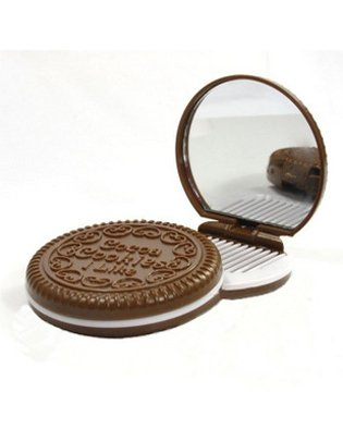 SAMGU Miroir Mini Pocket Chocolat miroir compact Cookie Avec Peigne