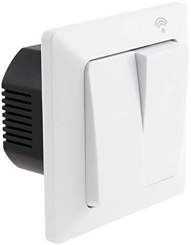 Interruptor de pared WiFi empotrado de 2 canales, conmutación manual SmartHome y control por aplicación compatible con Andoid/iOS/Alexa/Google