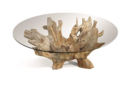 Root Wurzel Couchtisch Gestell Wurzelholz, Platte Glass Natur