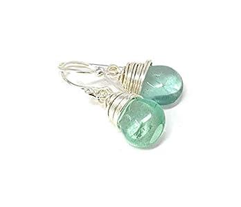 Green Fluorite Teardrop Earrings, 1.25 inch
