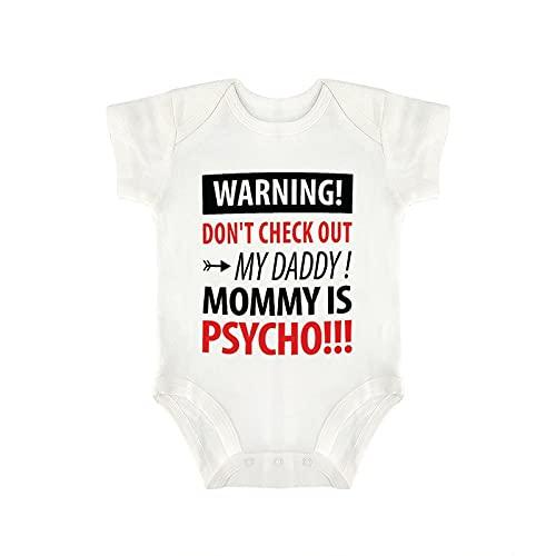 DKISEE Warning Don't Check Out My Daddy Body de manga corta de algodón blanco bebé mono 3-6 meses, og79roo8ttb0