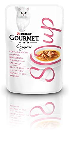 Purina GOURMET Crystal Soup Köstliche Brühe, mit naturbelassenen Zutaten, edles Katzenfutter, Tiernahrung, Ergänzungsfuttermittel, 32er Pack (32x40g)
