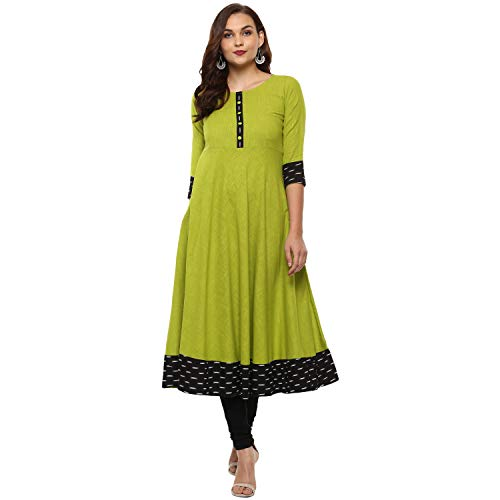 Yash Gallery Women's Cotton & Crush Regular Kurta (226YK346GREEN-M_Medium)