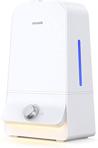 Homech Cool Mist Humidifier 6L, 26dB Quiet Ultrasonic Humidifiers for Large Bedroom Babies Adults, 360° Nozzle, Water Level Window and Waterless Auto Shut-Off for Home Office 20-60 Hours, White