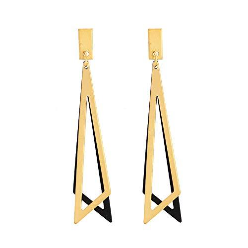 ZLININ Y-longhair Novedad pendientes de tuerca para niñas, aretes triángulo geométrico, personalidad largo temperamento simple hipster plata pendientes regalo