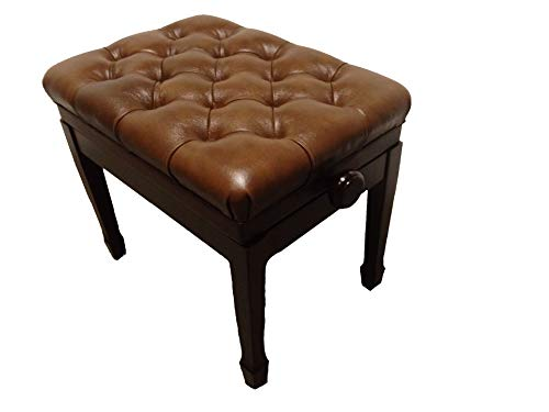 Genuine Leather Adjustable Pillow Top Artist Piano Bench Stool in Walnut Satin