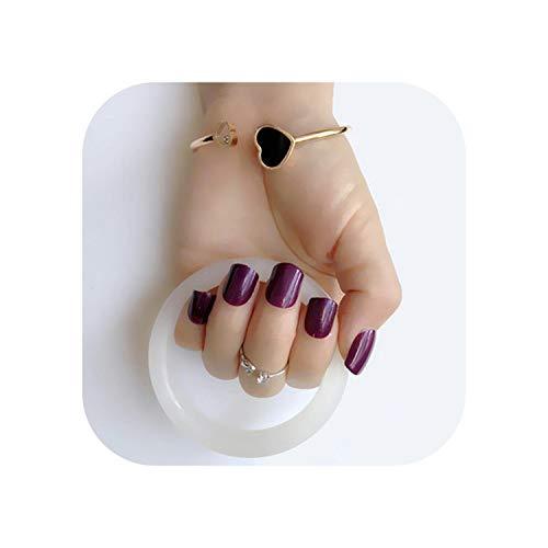 24pcs Weihnachten Neue Mode schöne Perle lila Farbe Nagel fertig falsche Nägel kurzer Absatz # 13-Pearl deep purple 12-