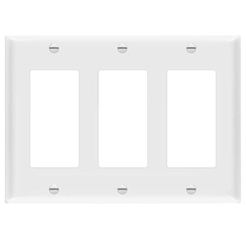"ENERLITES Decorator Light Switch or Receptacle Outlet Wall Plate, Size 3-Gang 4.50"" x 6.38"", Polycarbonate Thermoplastic, 8833-W, White"