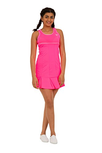 Bace Girls Pink Tennis Dress with Underpants Kids Tennis Dress Junior Netball Dress Golf Dress Sportswear (8-9 Years)