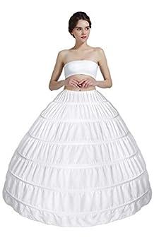 MISSYDRESS Full A-line 6 Hoop Floor-length Bridal Dress Gown Slip Petticoat,White,Free Size