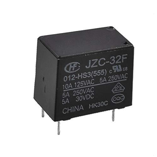 X-DREE Black Rectangle Case high performance 4 Pins 12V essential DC SPST NO well made Relay JZC-32F 012-HS3(378-86-8e-6f2)