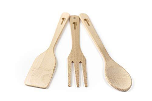 DMwood - Juego de Cocina de Madera de 3 Piezas Longitud de espátula: 30, Longitud de Cuchara: 30 y Longitud de Tenedor: 28 cm.