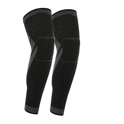 1 Paar volle Beinärmel Kniestütze Oberschenkel- und Wadenstütze Übung Kompression Vollbein Langarm Basketball Laufen Reiten-Black_M