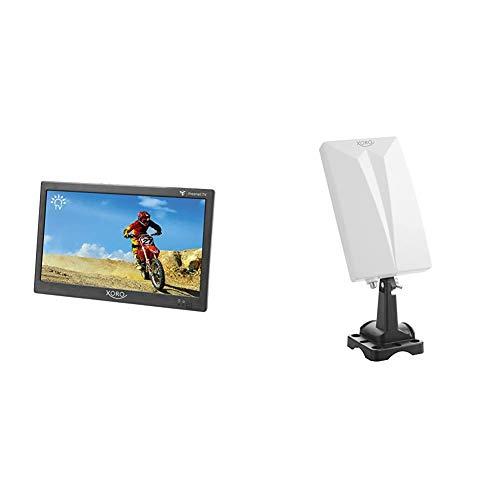 Xoro PTL 1050 25,6 cm (10.1 Zoll) Tragbarer DVB-T/T2 Fernseher inkl. 6 Monate freenet TV Guthaben & HAN 600 P Passive DVB-T2 Kombo Antenne mit eingebautem Verstärker (3,5m Anschlusskabel) weiß