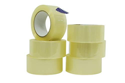 WOD CST18WBA Clear Packing Tape - 2 inch x 55 Yards Per Roll (6-Rolls) - Your Thin Commercial Grade Shipping Box Packaging Tape for Moving, Office, Carton Sealing & Storage