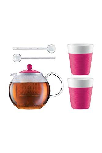 Bodum ASSAM SET Teebereiter mit 2 Gläser und Löffel Pink AK1830-XY-Y15-11