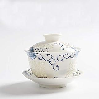 Hoobar Kung fu Tea Cup Set Ceramic Tea Pot Hollowing Out Gaiwan Teacup Tea Pot with Lid and Saucer(Colorful)