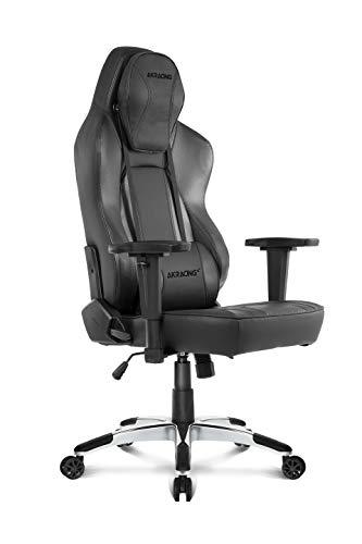 AKRacing Office Series Obsidian Computer Chair- PU Leather with High Backrest, Ergonomic, Recliner, Swivel, Tilt, Rocker & Seat Height Adjustment Mechanisms, 5/10 Warranty, Carbon Black