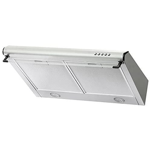 Dunstabzugshaube Abzugshaube Dunst Unterbauhaube - Abluft/Umluft - 60 cm breit - Farbe: Silber - Edelstahlgehäuse - LED-Beleuchtung [Energieklasse C]