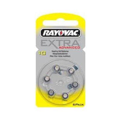 RAY10 appareils auditifs batterie rayovac extra advanced lot de 6