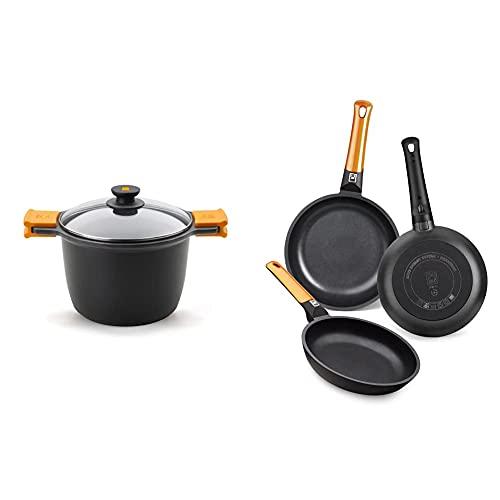 BRA Olla para estofados, Metal, Negro + Efficient Orange Set de 3 sartenes, aluminio fundido con antiadherente tricapa libre de PFOA, para todo tipo de cocinas