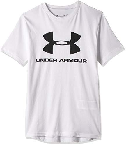 Under Armour Camiseta de Manga Corta con Logotipo Deportivo para niño, Niños, Manga Larga, 1330893, Blanco (100)/Negro, L