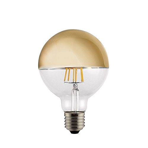 LED Vintage RLED Bombilla LED de Filamento Globo, Luz Cálida E27, 6 W, Oro, 14 x 9 cm