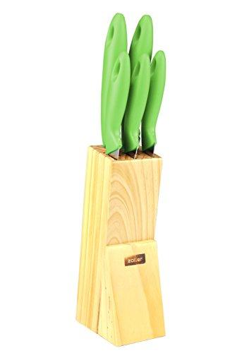 Zoller 6-teiliges Messerset grün - Chefmesser, Brotmesser, Tranchiermesser, Universalmesser, Schälmesser, Messerblock - aus rostfreiem Edelstahl