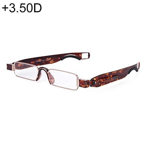 JSANSUI voordelige leesbril inklapbaar 360 graden draaibare leesbril met pen om op te hangen (+3.50D/zwart)