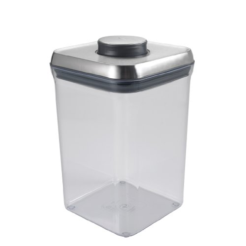 OXO 3106300 SteeL POP Container – Airtight Food Storage – 4 Qt for Flour and More,Silver