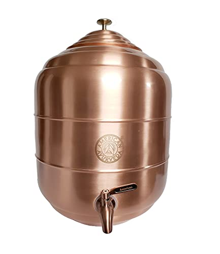 American Ayurveda Counter Top 5 Gallon Water Dispenser Copper Storage Tank Pot with Stainless Steel Faucet Copper Charged Water Kitchen Home Health Yoga Meditation Spa