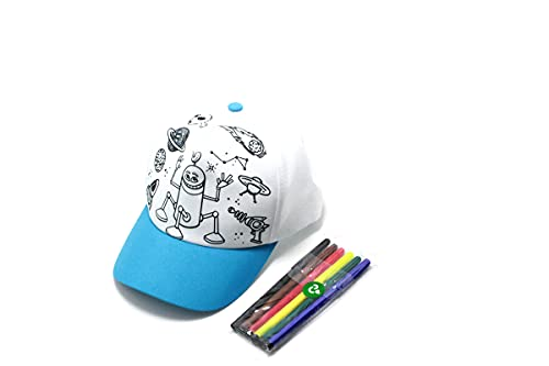 Boné Infantil Para Colorir e Brincar Com Kit Canetinhas Cor: Azul