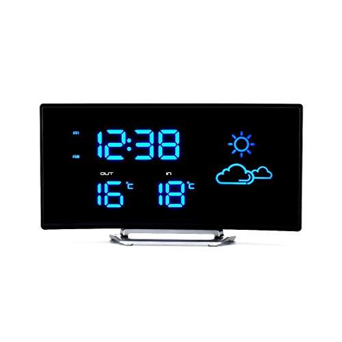 Reloj meteorológico LED Forma de arco, previsión meteorológica Estación meteorológica inalámbrica Pantalla de temperatura interior y exterior Función de alarma Función de alimentación externa estacion