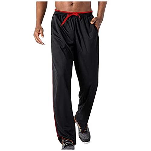 Pantalones de chándal ligeros para hombre con bolsillos con cremallera, largos, transpirables, pantalones de chándal suaves, de secado rápido con cintura elástica., Negro , XL