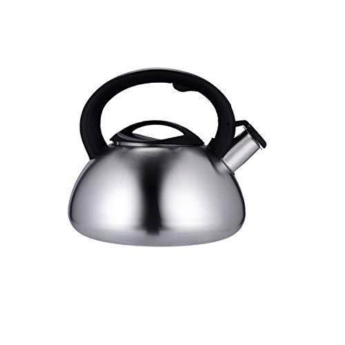 YMSH Stainless steel kettle home gas stove induction cooker sound whistle large capacity flat bottom thick gas kettle (Color : Gray, Size : 4.5L)
