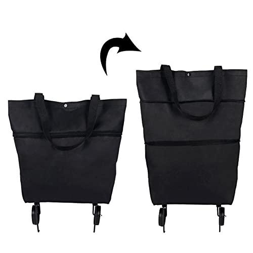 Carro de compras plegable 2 en 1, bolsa plegable de dos etapas con cremallera, plegable con ruedas, carrito de compras plegable, 2 ruedas para el supermercado casero, bolsas de gran capacidad