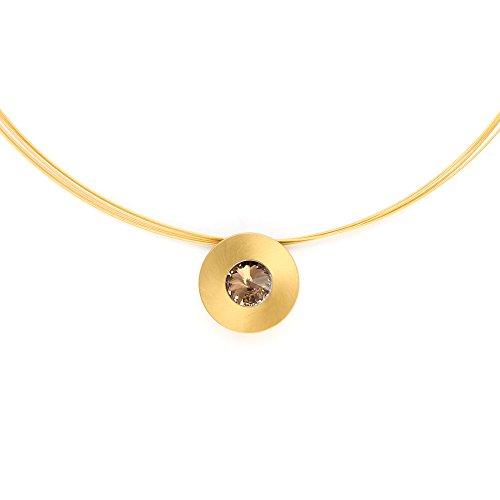 Heideman Halskette Damen Lumen aus Edelstahl gold farbend matt Kette für Frauen mit Swarovski Stein Kristall bernstein braun im Fantasie Edelsteinschliff