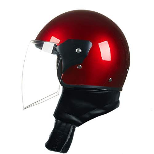 OUTO Motorradhelm Männer Und Frauen Vier Jahreszeiten Tragbare Halbe Helm Reißverschluss Schutz Halsumfang HD Anti-Fog Spiegel (Farbe : Red)