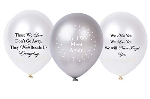 30PC Biodegradable Remembrance Balloons: White & Silver Personalizable Funeral Balloons for Balloon Releases & Sympathy Gifts   Created/Sold by AMERIBA, a USA company (Variety Pk White, Black Writing)