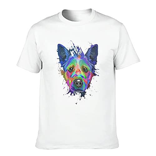 Camiseta de algodón para hombre con diseño de grafiti de vacuno blanco S